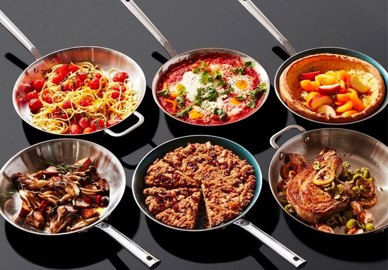 copper-pans-with-food